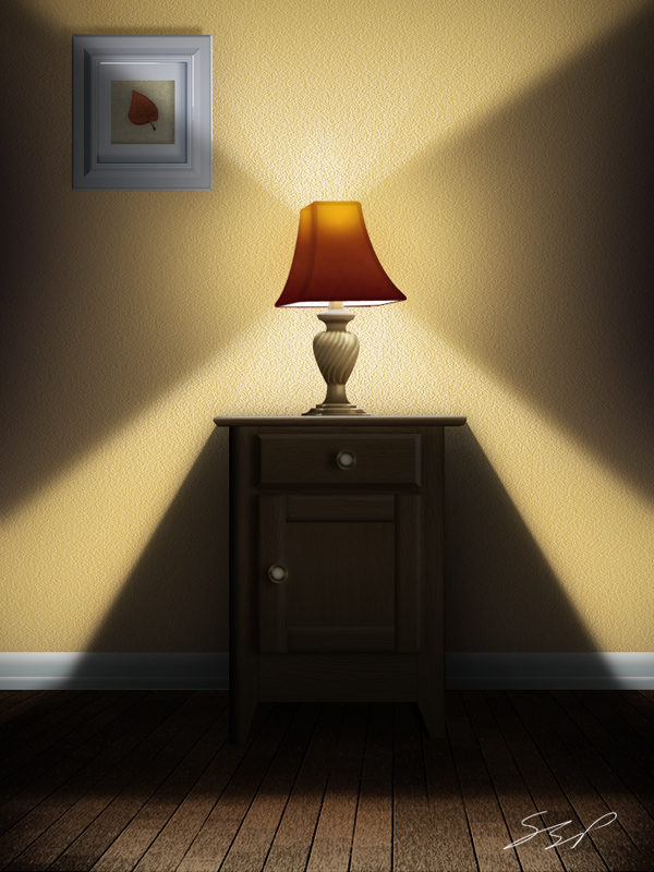 Link toUse photoshop to create a still-life lamp, nightstand, and picture frame