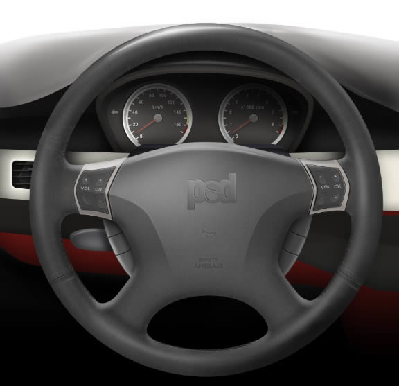 How to draw a steering wheel and dashboard in photoshop