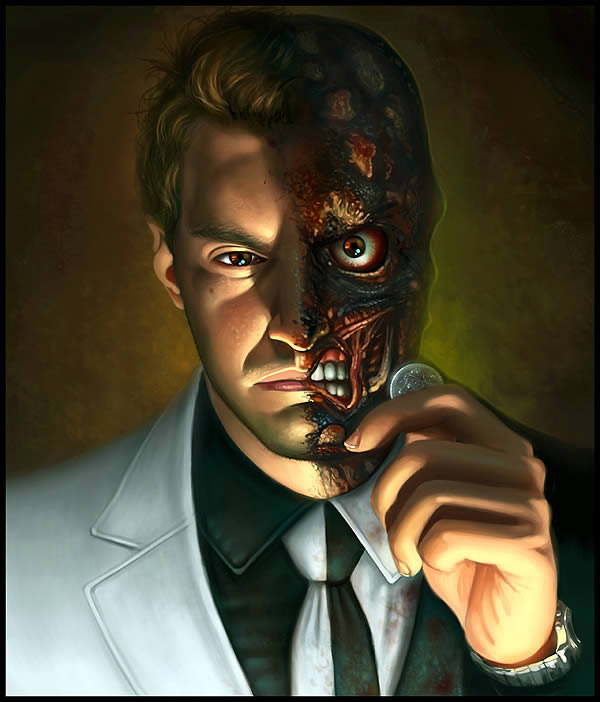 Create Two Faced Digital Painting Photoshop