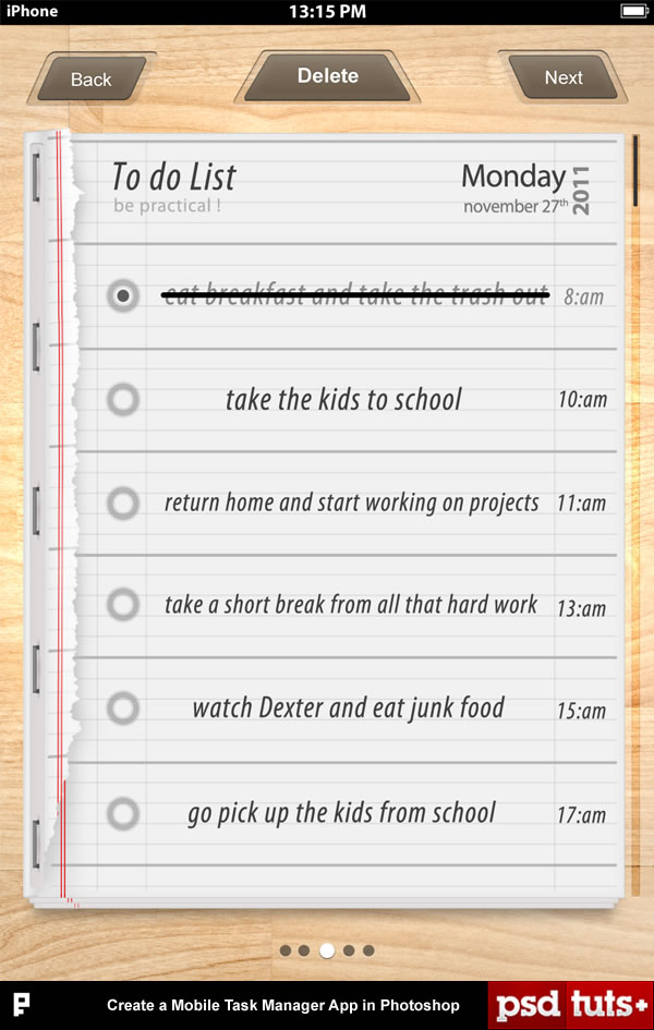 Link toCreate a mobile task manager app in photoshop