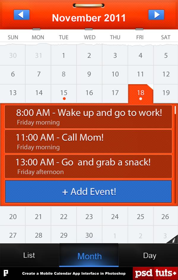 Link toCreate a mobile calendar app in photoshop