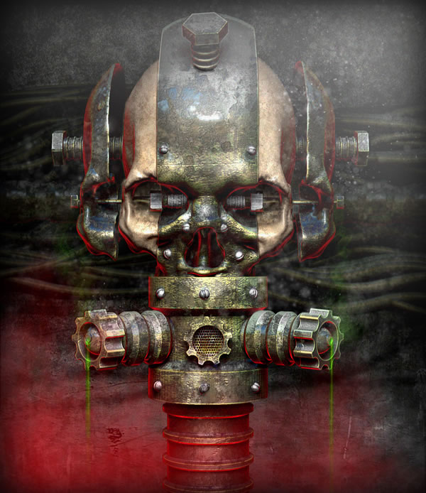 Link toCreate a rusty and worn metallic textured skull using 3d renders