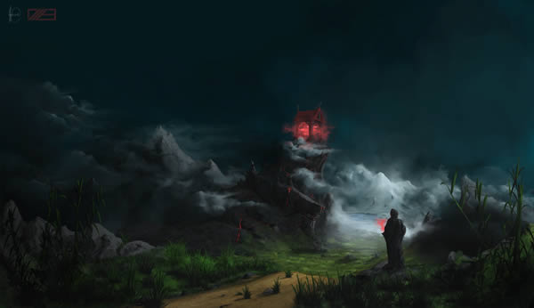 Create a fantasy landscape using digital painting techniques