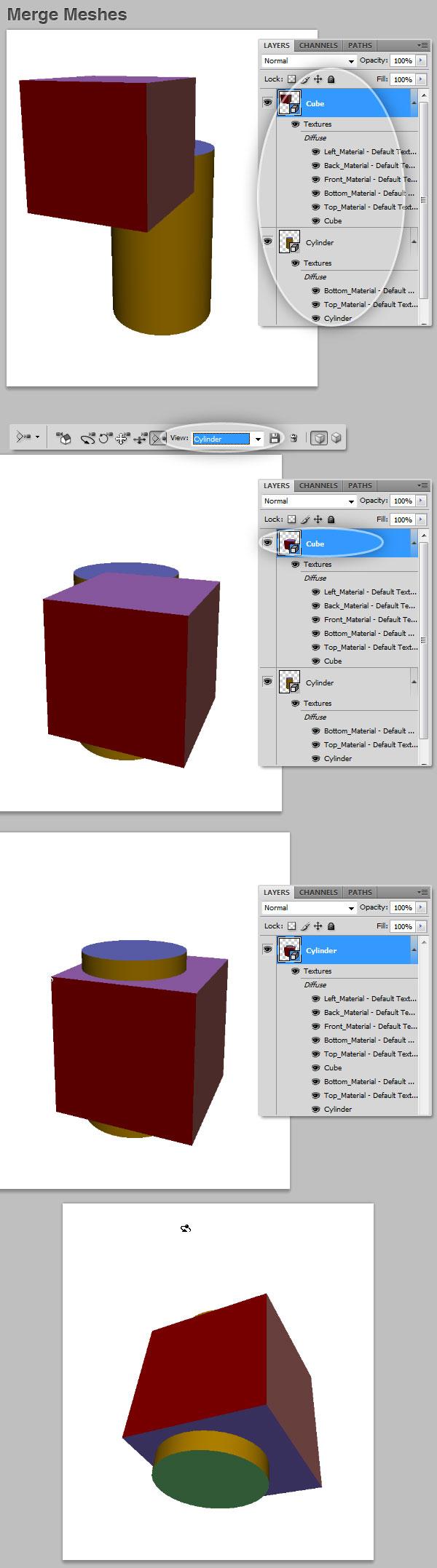 3D merge meshes