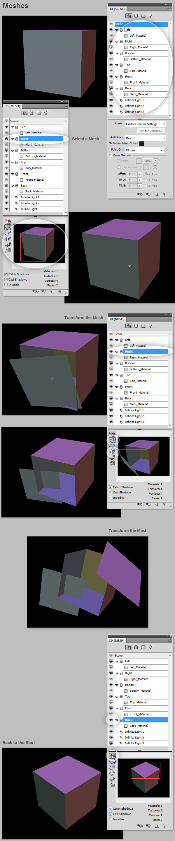 3D working with meshes