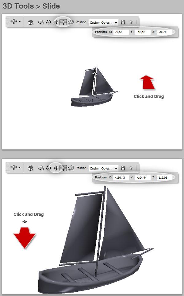 3D slide position control