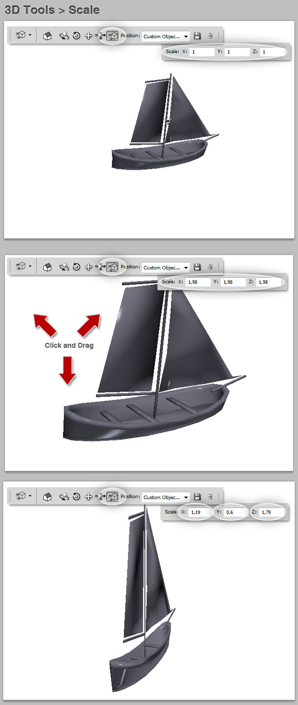 3D tools scale