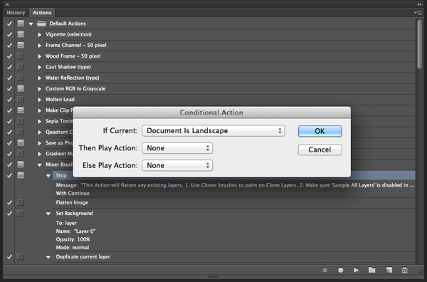 Link toCreate conditional actions in photoshop cs6.1