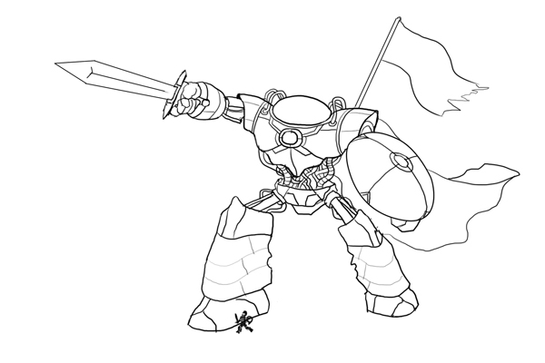 Line Art Robot : Create line art for a medieval robot character illustration