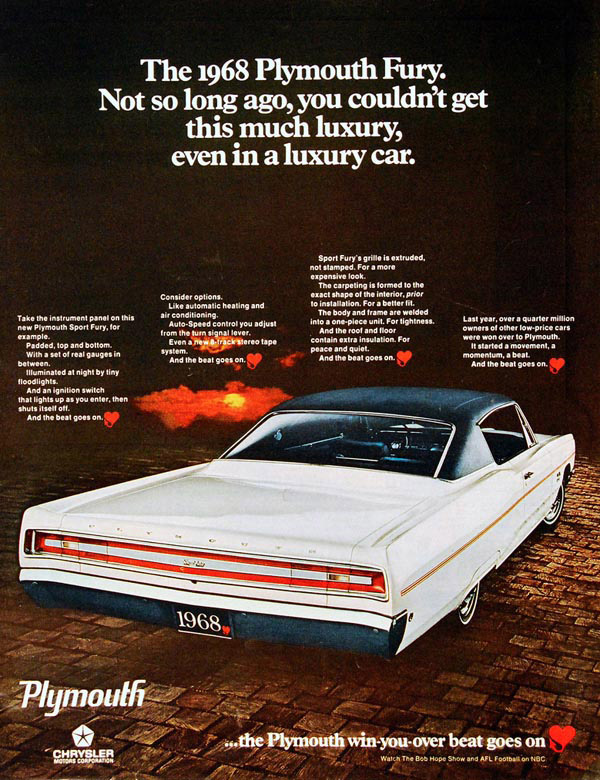 Inspiration 60 vintage automobile ads plymouth fury 1968 fandeluxe Images