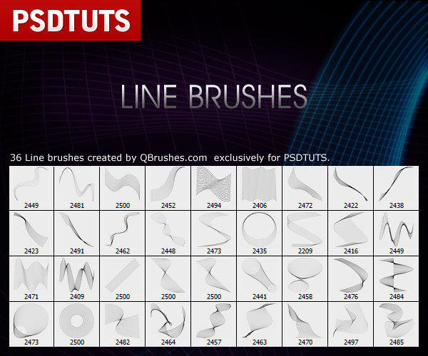 New Photoshop Line Brushes - PLUS Pack