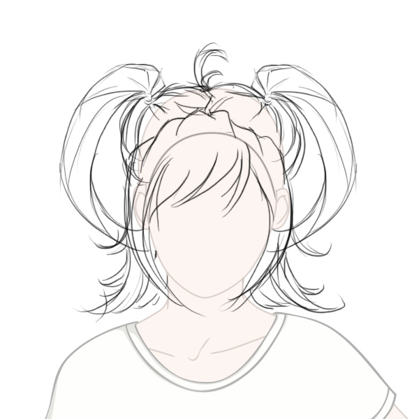 Create Big Gravity Defying AnimeStyled Hair In Adobe Photoshop - Drawing a hairstyle