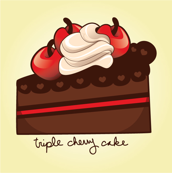 How to draw a sweet cherry chocolate cake slice in adobe illustrator.