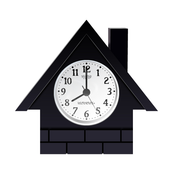 How to create a vector house shaped clock in illustrator