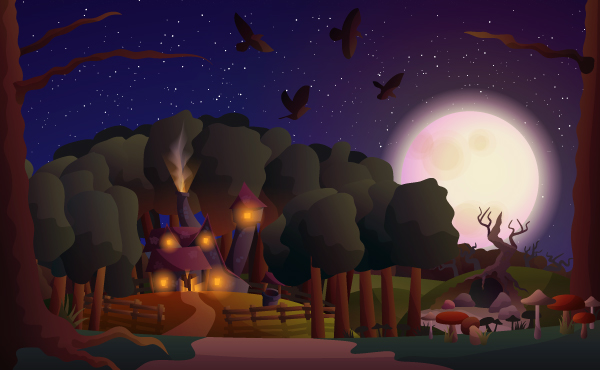 Link toHow to create a witch's house scene with gradients in illustrator