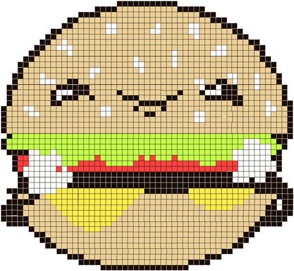 Link toHow to create a cute burger character & then turning it into a pattern for cross stitching