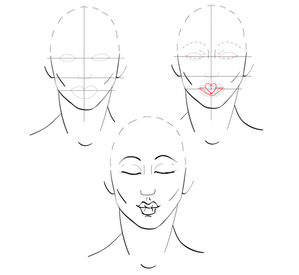 how to draw kissy lips step by step