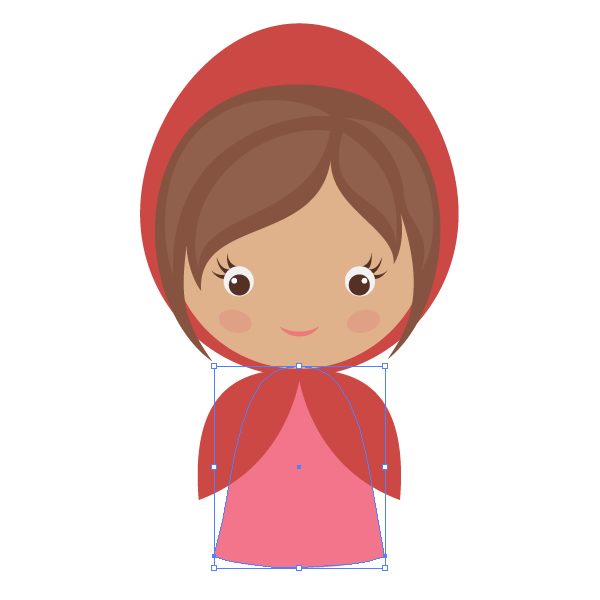 How to draw little red riding hood with basic shapes in adobe