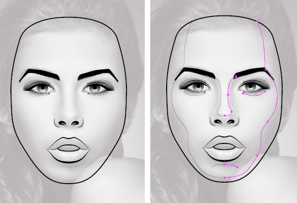 Drawing Vector Lines In Illustrator : How to create a line art based symmetrical portrait in