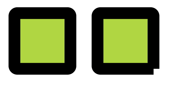 The square on the left is a closed shape; the one on the right is open.