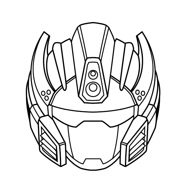 Line Drawing Robot : Create a futuristic robot helmet in line art style
