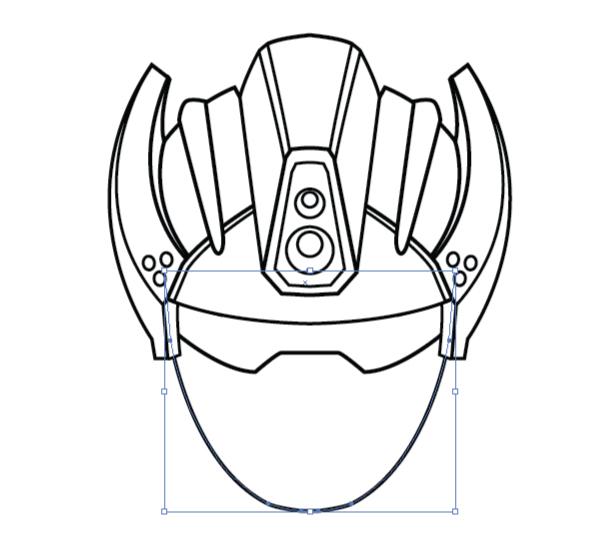 create a futuristic robot helmet in a line art style in