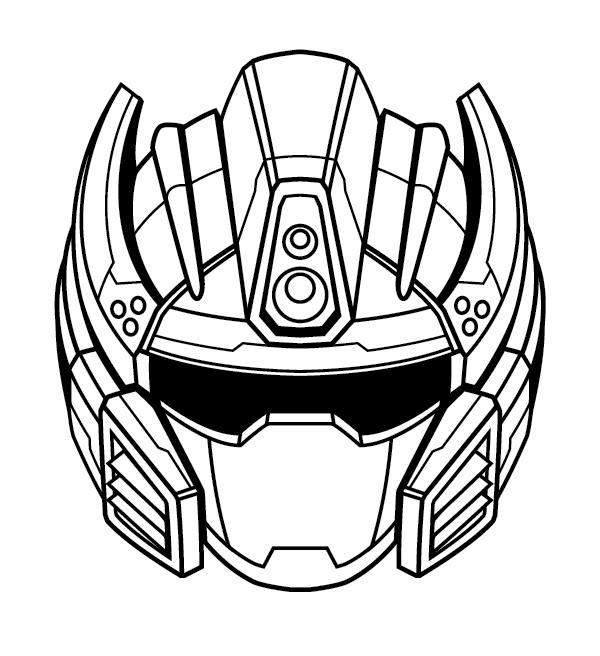 create a futuristic robot helmet in a line art style in adobe