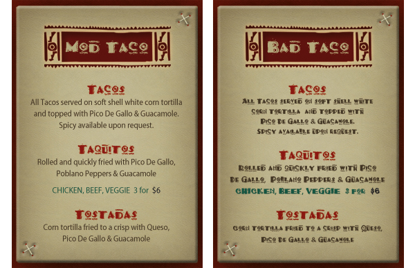 Mexican Menu example