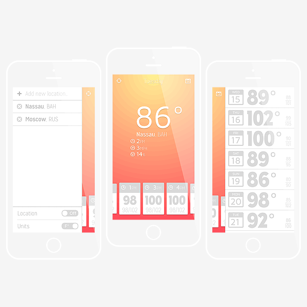 Create a weather app design for ios in adobe illustrator Blueprint creator app