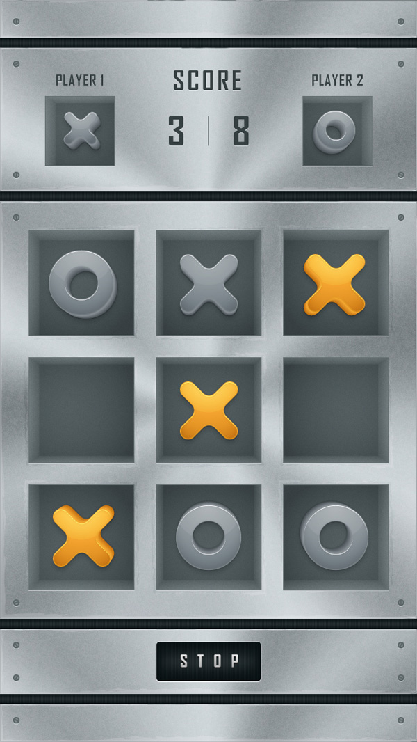 Create a tic tac toe mobile app interface in adobe illustrator