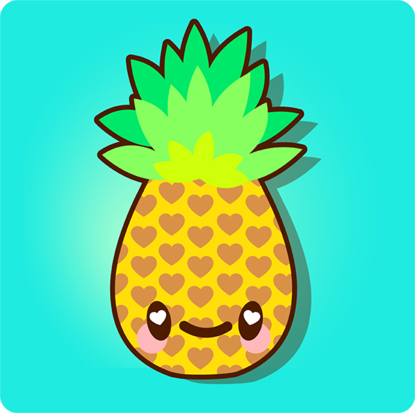 how to draw a simple super kawaii pineapple in adobe. Black Bedroom Furniture Sets. Home Design Ideas