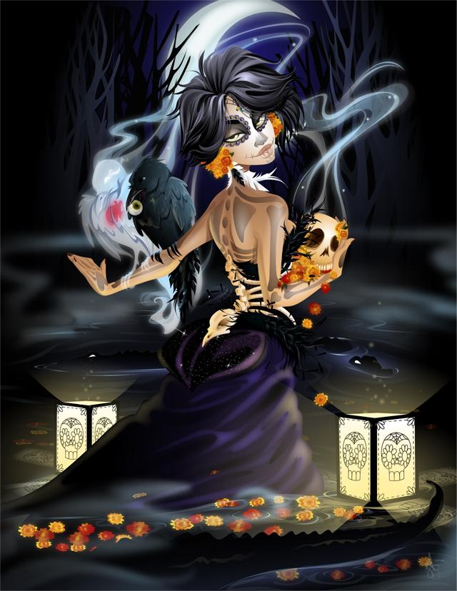 Create a haunting, dia de los muertos illustration using adobe illustrator