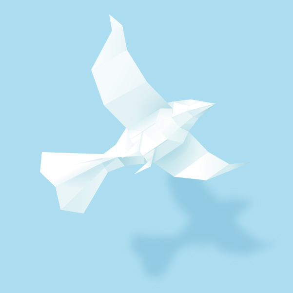 create a 3d paper bird with geometric shapes in adobe