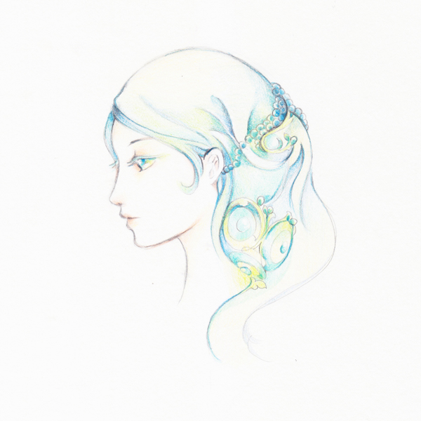 how to draw a soft dreamy profile illustration with color pencils
