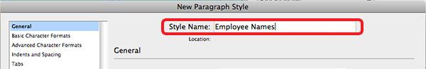 style name employee names