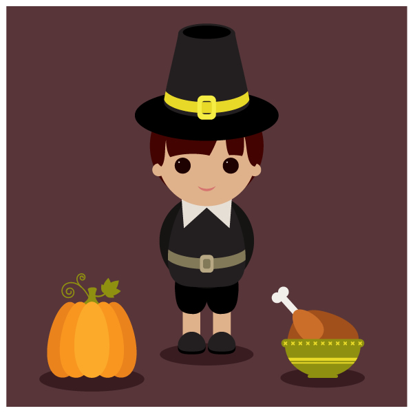 Character Design Using Illustrator : Create a thanksgiving illustration with basic shapes using