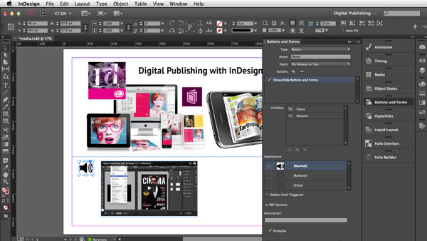 digital publishing with indesign cc audio files