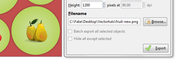 export filename