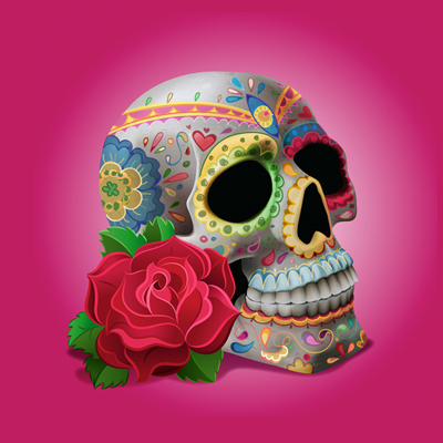 "Preview for Create ""Dia De Los Muertos"" Decorations on a Skull in Adobe Illustrator"