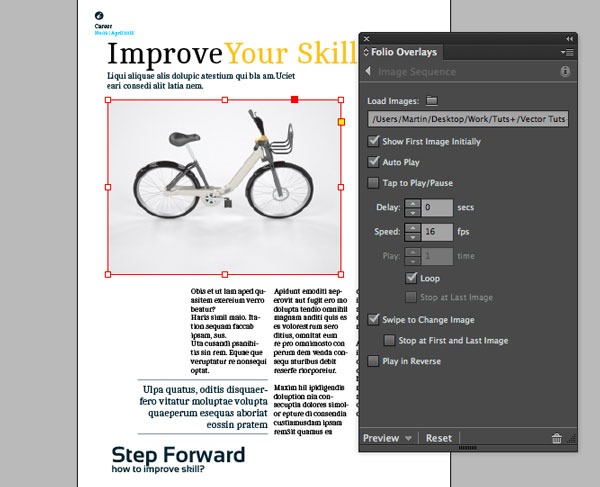 Link toDigital publishing with indesign cc: panorama and image sequence