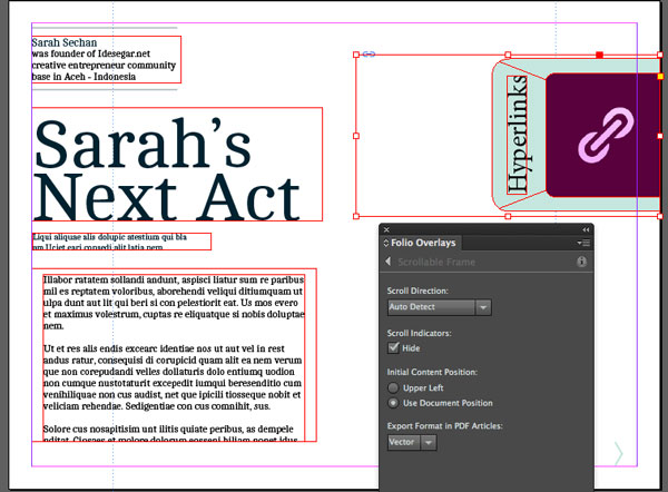 Link toDigital publishing with indesign cc: scrollable frame