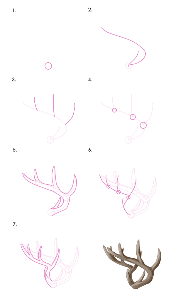 deer antlers drawing easy - photo #19