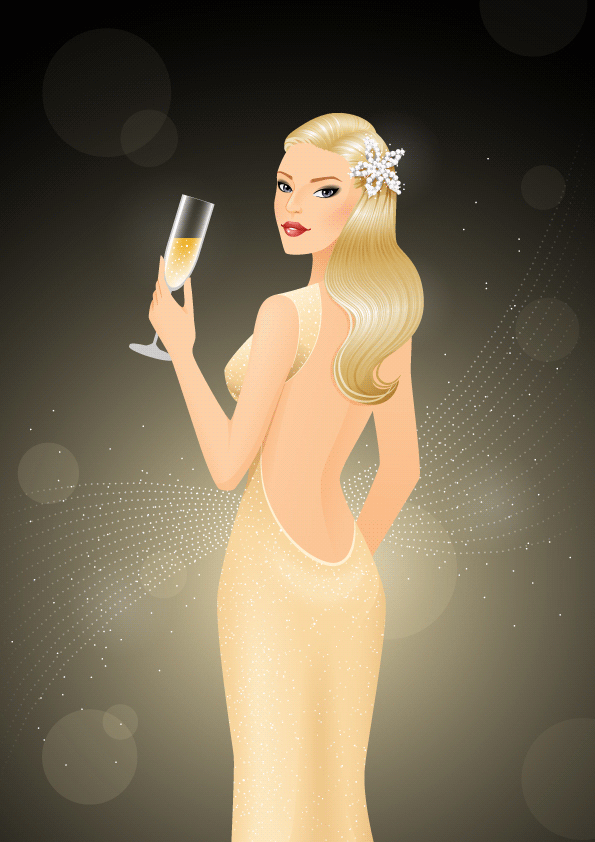 Create a glamorous champagne-inspired illustration in illustrator