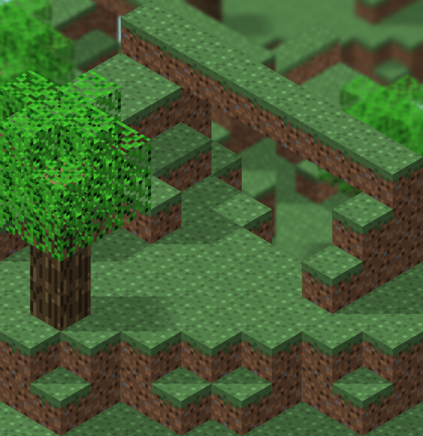 Playing with isometric projection in inkscape to make a minecraft scene