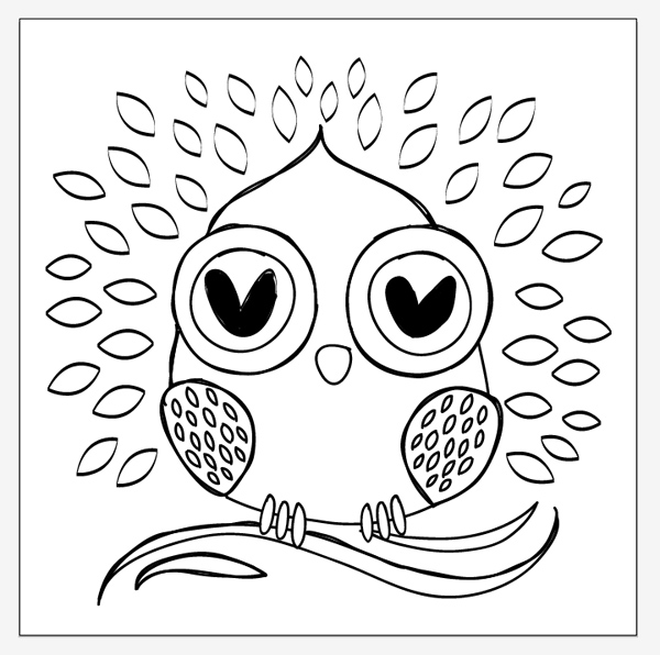 create a simple owl tote design in illustrator for hot