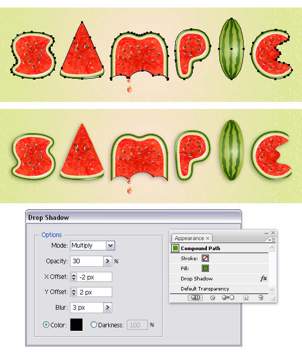 CREATE WATERMELON TEXT EFFECT WITH ADOBE ILLUSTRATOR PART 2