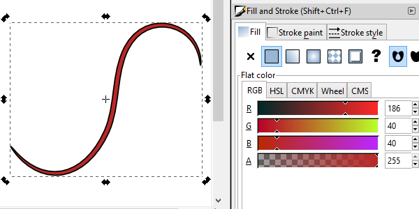 inkscape tapered line no fill