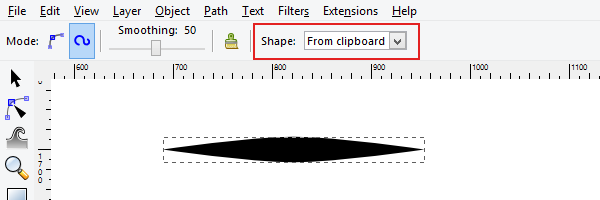 tapered line from clipboard