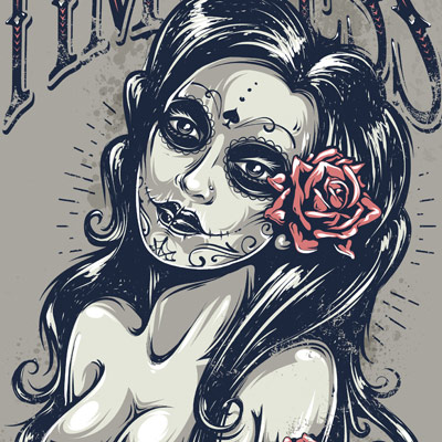 Preview for Create a Tattoo Style, Grunge, Day of Dead Girl Poster in Illustrator