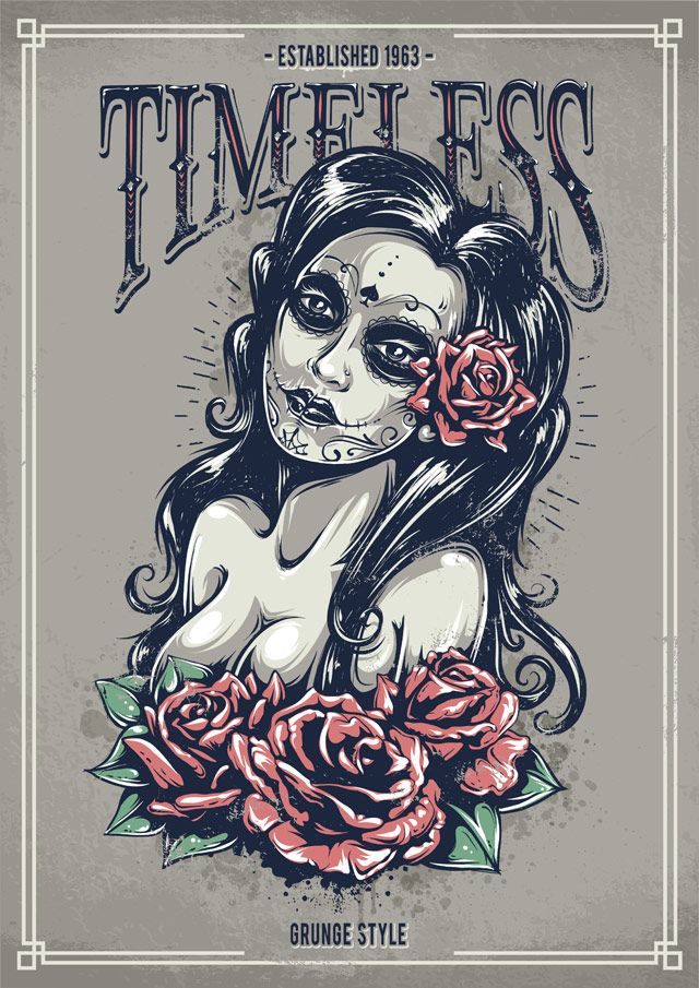 create a tattoo style grunge day of dead girl poster in illustrator. Black Bedroom Furniture Sets. Home Design Ideas